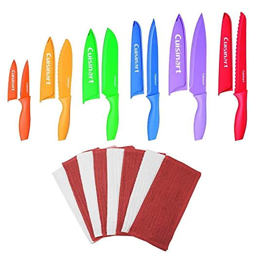 Cuisinart Advantage 12-Piece Knife Set and 8 Pack Terry Dish Cloth (Red/White) Bundle