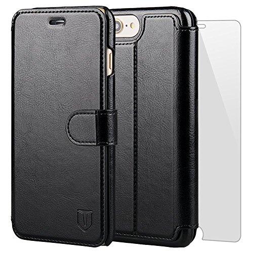 iPhone7 plus ケース 手帳型ケース TANNC 「強化ガラスフィルム付き」 財布型ケース レザーケース マグネット式 カード収納 ポケットホルダー付き スタンド機能付き ブラック