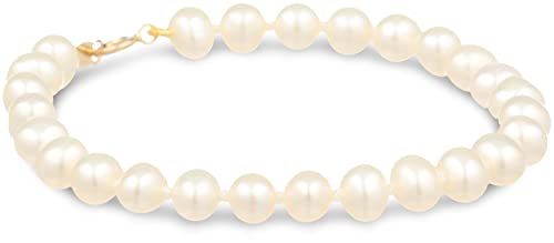 14K Yellow Gold 4.5-5mm Baby Freshwater Cultured Pearl Bracelet, 5 1/4""