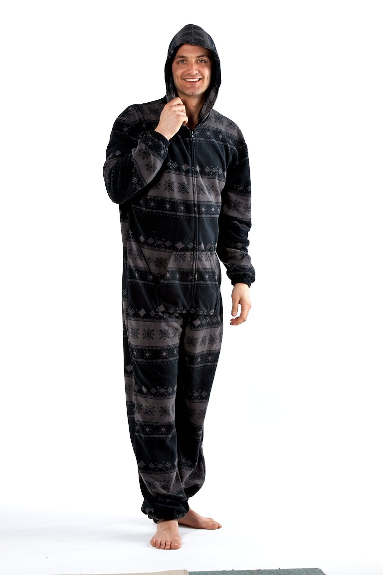 Octave Mens Gray Warm Fleece Hooded Onesie pajamas xxxl Loungewear & Nightwear All In One
