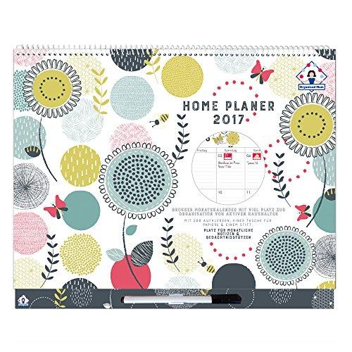 2017 Organised Mum Home Planer Kalender (Jan - Dez 2017) Monatlicher Familienkalender. Familienplaner mit viel Platz, Aufklebern, Tasche für Papiere und ansteckbarem Stift