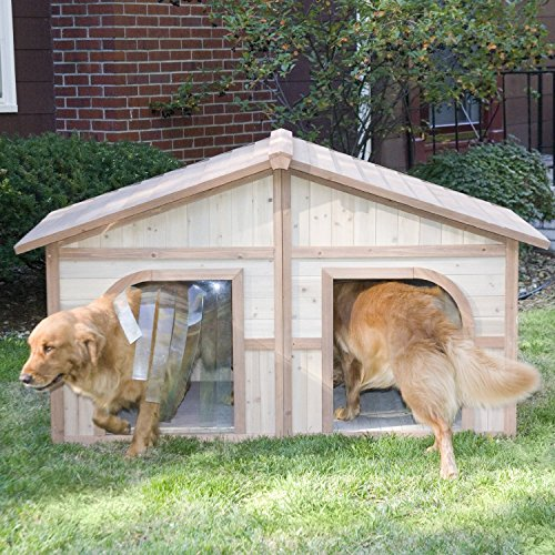 Merry Products Duplex Wood Dog House With Free Dog Doors