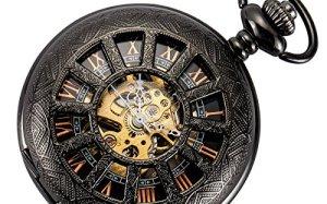Smart.Deal Skeleton Mens Pocket Watch Hand Wind Mechanical Rose Gold Roman Numerals Half Hunter Magnifier