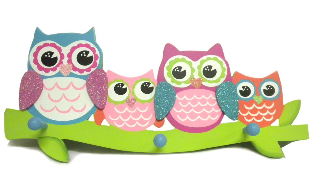 Owls Perched on Branch Wood 3 Peg Hook