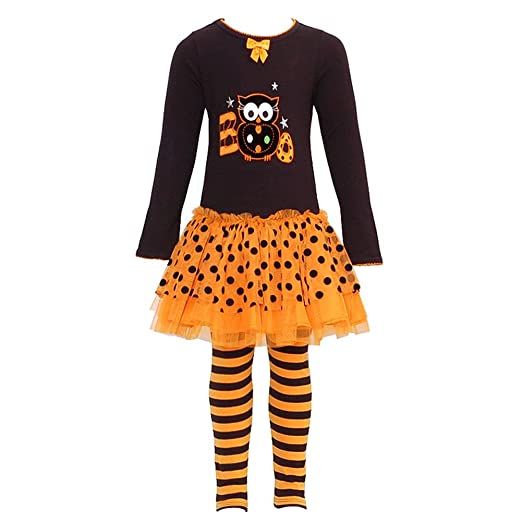Bonnie Jean Baby-girls Halloween BOO Owl Dress Outfit Set with Leggings
