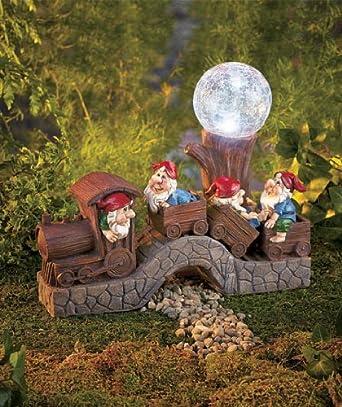 Outdoor Solar Train with Gnomes - Garden Decor - - Amazon.com on Backyard Decorations Amazon id=30480