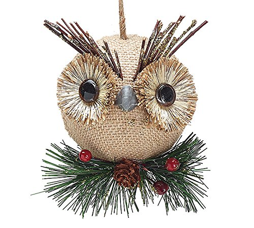 Burlap Owl Christmas Ornament
