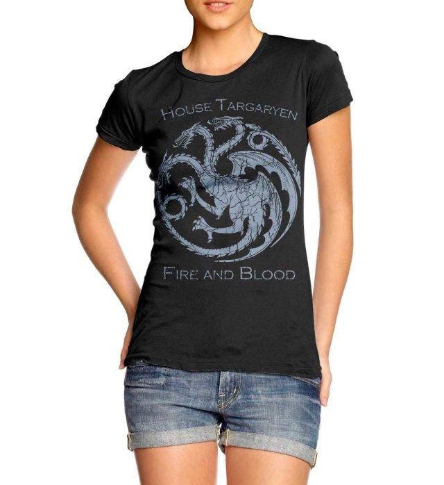 Juniors Vintage Style Game Of Thrones House Targaryen Dragon Sigil T-Shirt