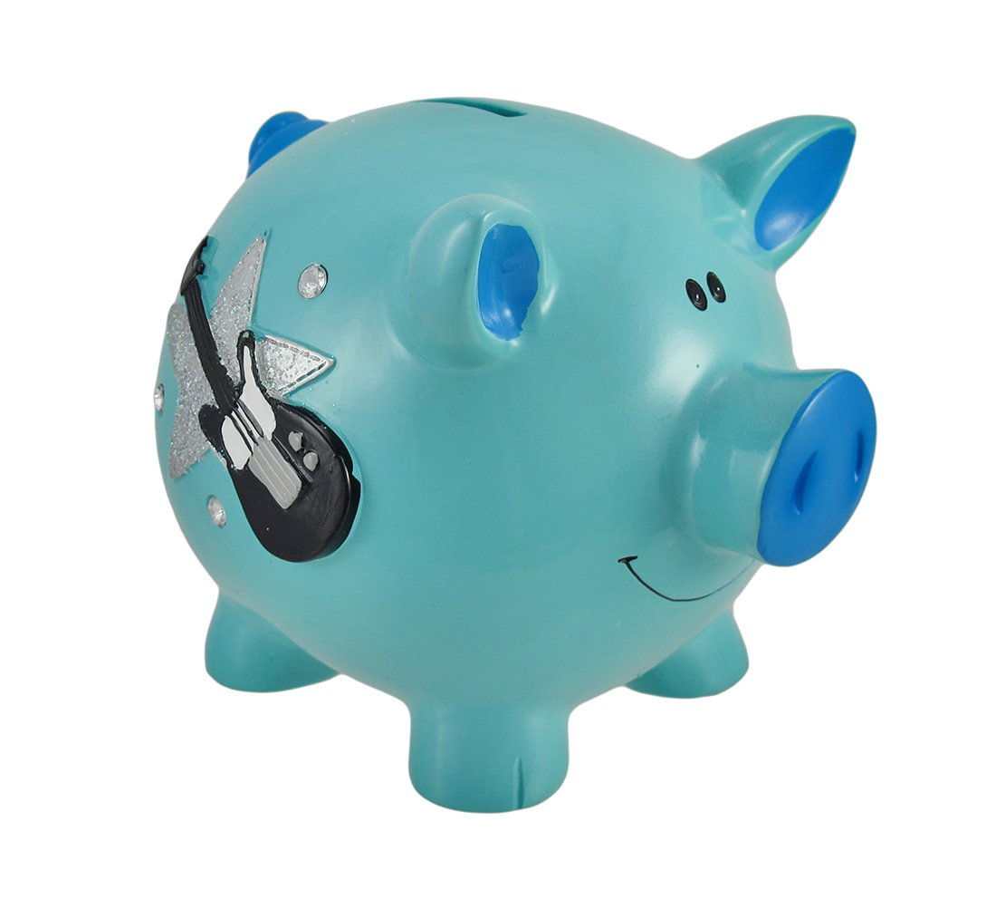 Blue Rock Star Piggy Bank with Rhinestones
