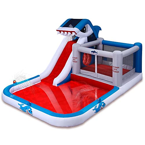 Shark Park Inflatable Water Park Bouncer Water Slide by Blast Zone