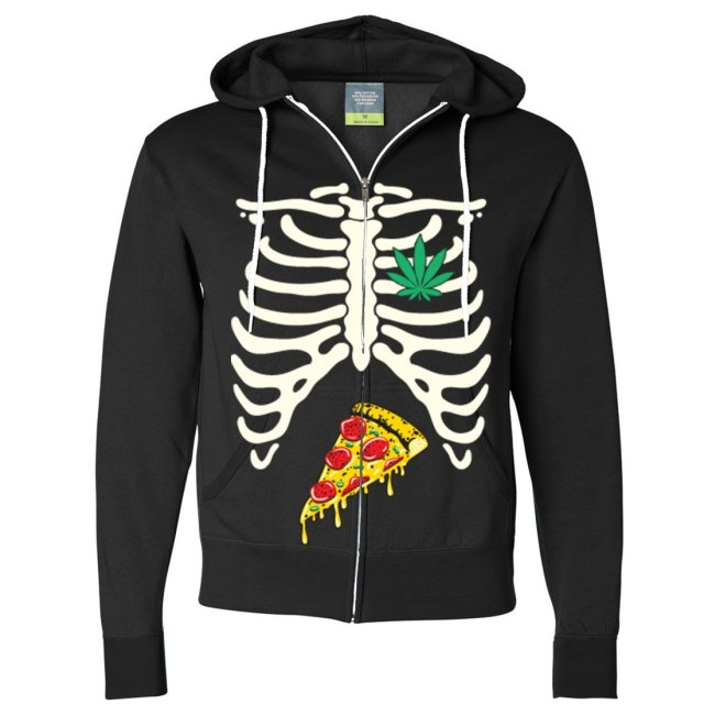 Pizza Pot Ribcage Zip-Up Hoodie - Available in 8 colors