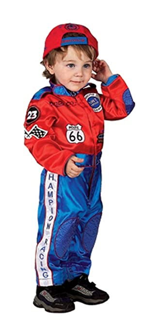 Red and Blue Junior Champion Car Racing Suit  with Embroidered Cap, Size 12/14
