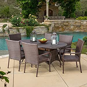 outdoor patio dining sets clearance Amazon.com : 7 Piece Outdoor Patio Dining Set - Weather