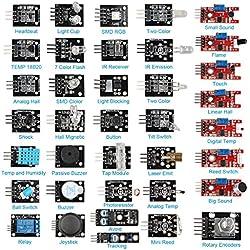 Hengjiaan - Set de aprendizaje de 37 módulos de sensores en 1 para Arduino UNO
