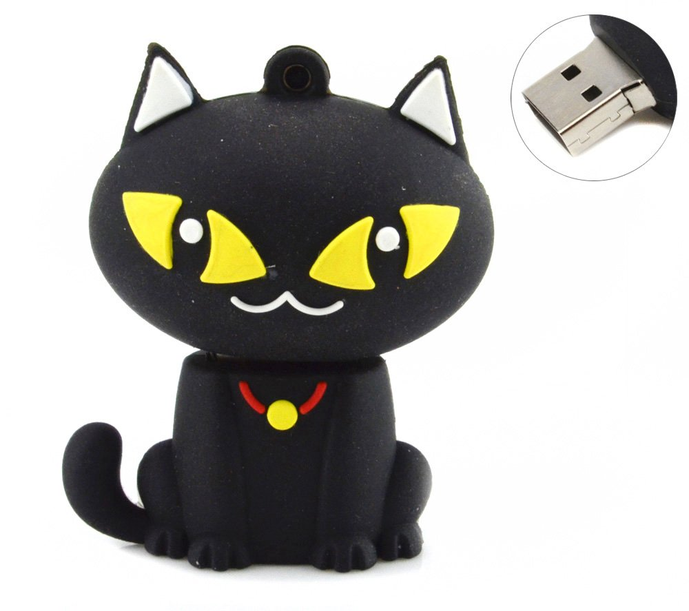 32GB Cute Sitting Cat USB Flash Drive (Black)