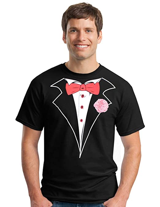 Gildan Classic Tuxedo T-Shirt with Red Tie and Carnation- Large,Black
