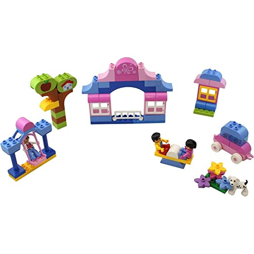 DimpleChild Girls Dream Building Bricks with Girl and Boy MiniFigures and Assorted Shapes (80-Piece)