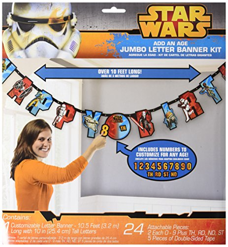 Amscan Eye-catching Star Wars Rebels Jumbo Add-an-Age Letter Party Banner (1 Piece), Multi, 10 1/2 x 10