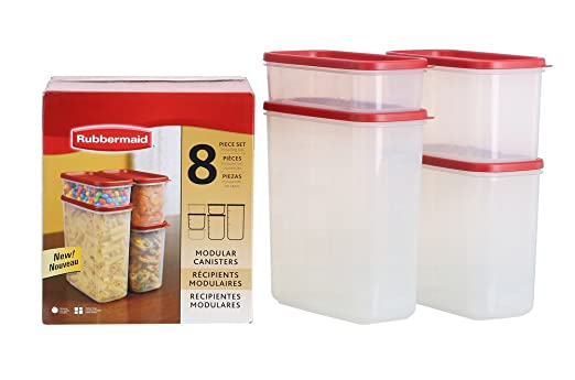 Rubbermaid Dry Food Storage Container, 8-Piece Set, Chili (FG7M7502CHILI)