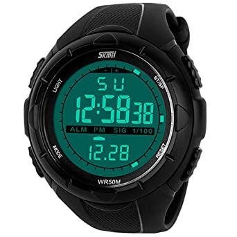 Aposon Mens Digital Electronic Military Outdoor Wrist Sport Watch with LCD Display, Calendar Month Date Day, Comfortable Rubber Band, 164ft 50M 5ATM Water Resistant, Alarm, Stop Watch - Black