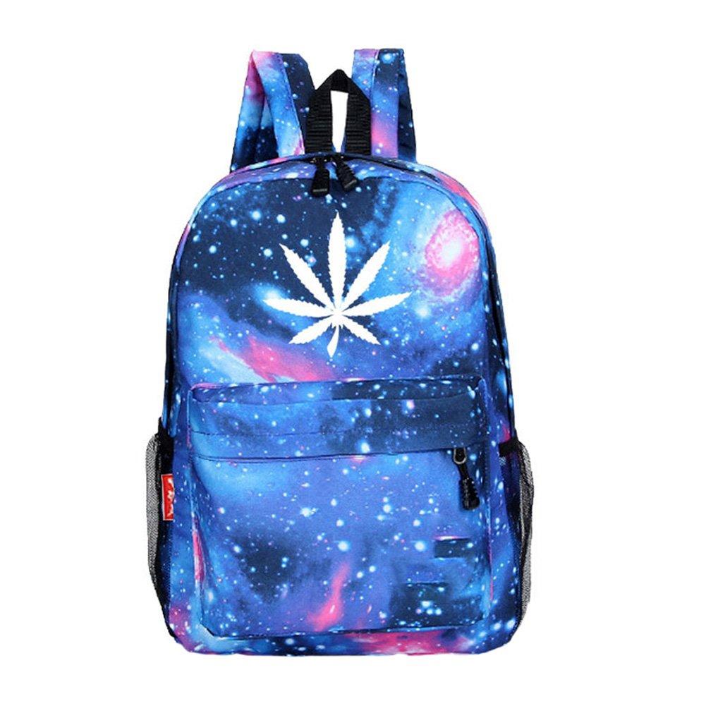 MapleClan Fashion Starry Sky Hemp Leaf Prints Oxford Backpack Travel Bag