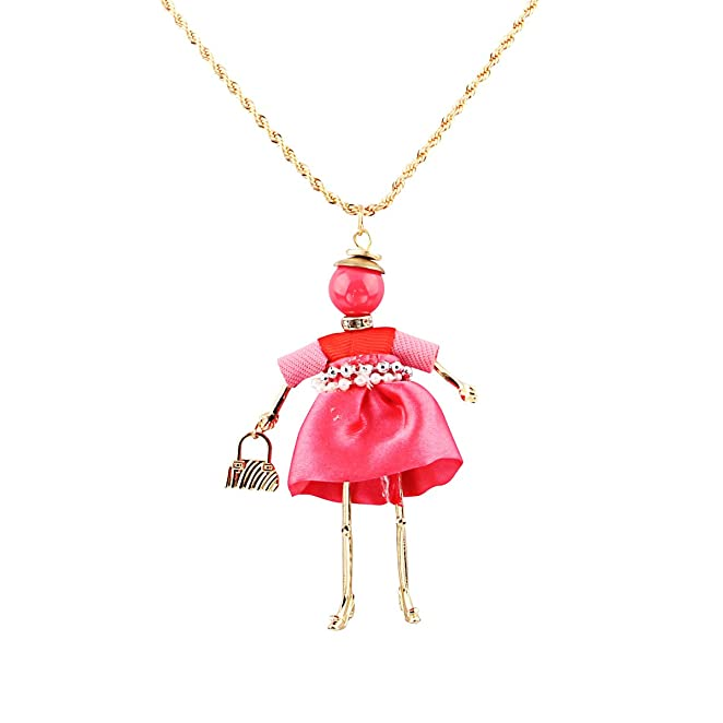 Zhenhui New Arrival Simple Jewelry Fashion Arrow Pendant Necklaces Doll with a Bag in Hand Lovely Pendant Necklace for Women (Purple)
