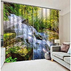 """Beddinginn® 3D Wonderful Waterfall Print Two Panels Blackout Curtain (80W*84""""L)"""