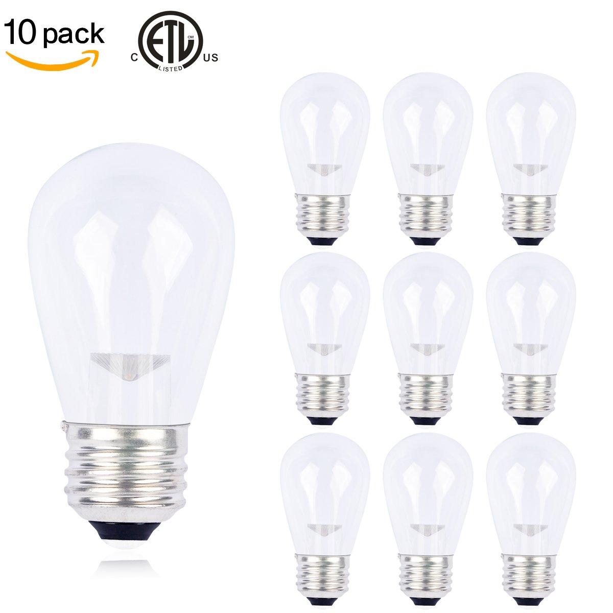 10 Pack Slz S14 Led Bulbs Clear Glass Warm White K