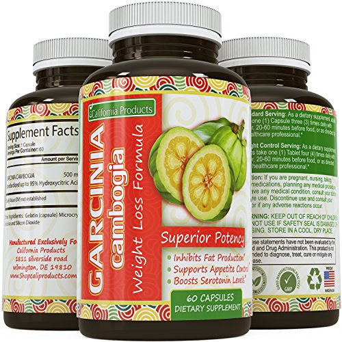100% PURE GARCINIA CAMBOGIA EXTRACT ✿ Potent HCA ✿ Weight loss pills + Appetite Suppressant ✿ Best Supplement for men and women - premium mg Capsules that work FAST - California Products 60capsules