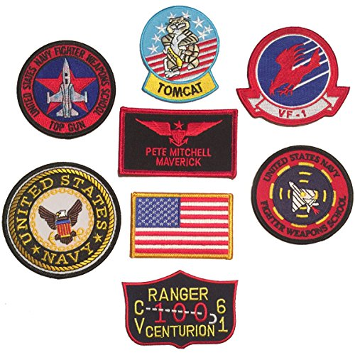 Patch Squad Men's Iron On US Navy Top Gun Fighter Tactics 8pc Patch Set (Pete Mitchell Maverick)