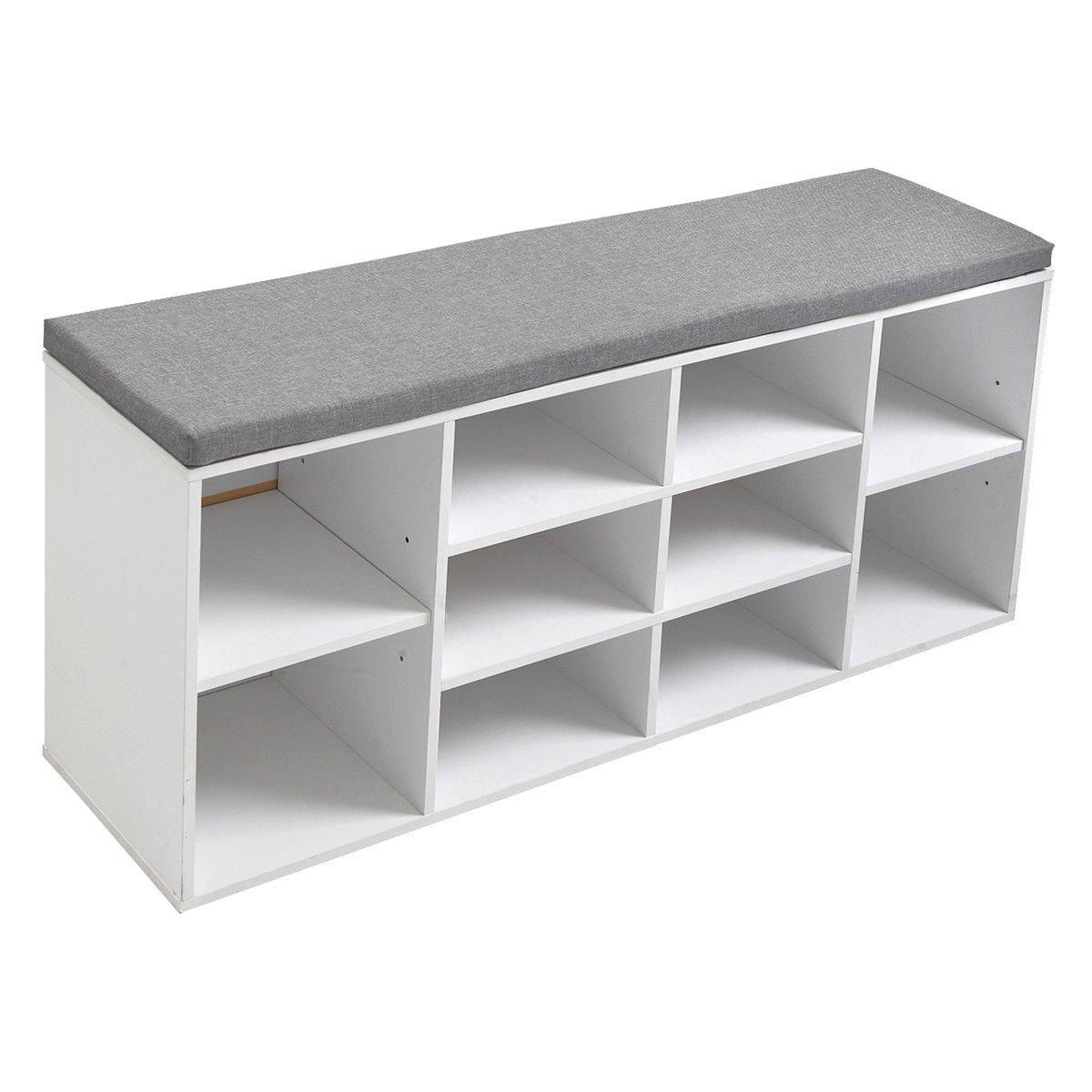 Jaxpety White Shoe Storage Cubbie Shoe Bench Fabric Wood