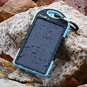 LevinTM Solar Charger 5000mAh Rain-resistant and Dirt/Shockproof Dual USB Port Portable Charger Backup Battery Portable Power Pack Solar Power Bank Phone Chargers Solar Powered Charger Usb External Battery Charger Portable Solar Charger External Battery Power Bank Charger for iPhone 6 Plus 5S 5C 5 4S 4, iPad Air Mini, iPods(Apple Adapters not Included), Samsung Galaxy S5 S4 S3,Note 4 3 2, Nexus, HTC, Android Phones,Windows phone, Bluetooth Speakers, MP3, Tablets and Other Devices(Blue)