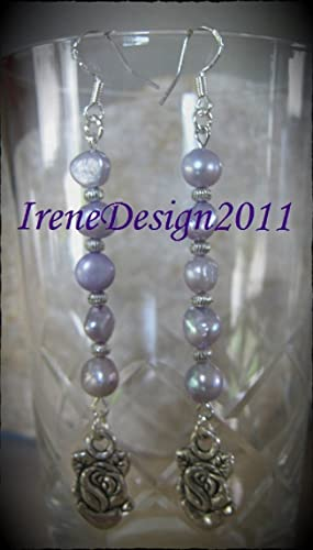 Lilac Sea Pearls & Silver Rose Earrings