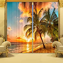 """Ammybeddings Coconut Tree in Sunset Print 3D Blackout Curtain,2 Panels (118W*106""""L)"""