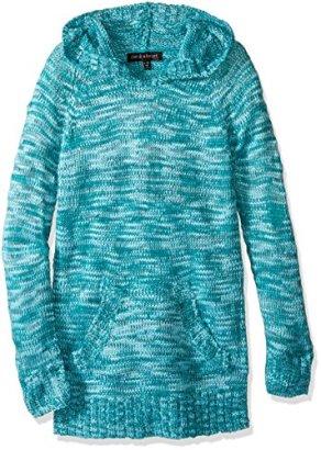 Derek-Heart-Girls-Big-Girls-Long-Sleeve-Marled-Space-Dye-Pullover-Tunic-with-Kangeroo-Pocket-Blue-RadianceLapis-m1012