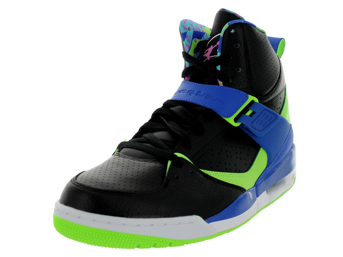 Men's Jordan Flight 45 High Basketball ShoeColor: Black /Club Pink-Game Royal-Flash Lime