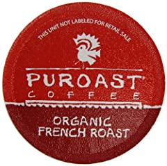 Puroast Low Acid Coffee Single Serve Keurig Compatible, Organic French Roast, 12 Count
