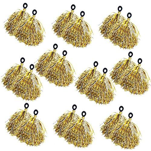 キラキラポンポン 同色10人分セット(20房)運動会などの応援に人気 (43-884 金)