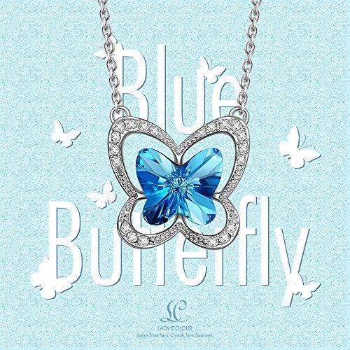 Carbonado LadyColour Ocean Blue Butterfly Pendant