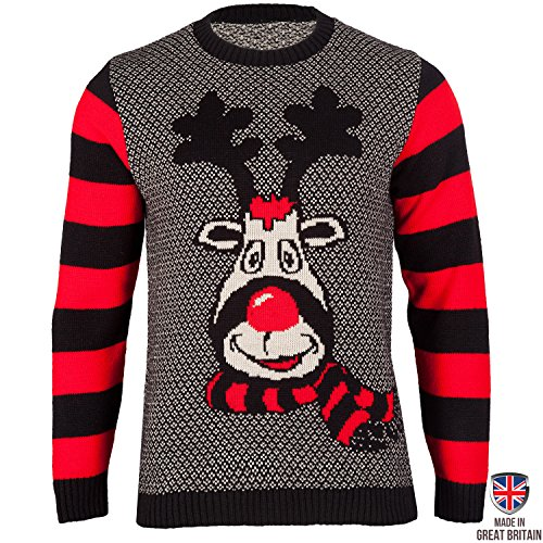 Rudy - The Mischievous Reindeer - Mens Christmas Sweater by British Christmas Jumpers (XXL)