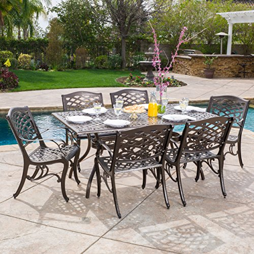 Odena Outdoor 7-piece Cast Aluminum Rectangle Bronze Dining Set