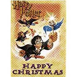 harry potter happy christmas set of 4 gift note or mini greeting cards