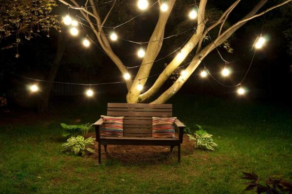 outdoor patio lighting string lights Outdoor String 15 Light Clear Incandescent Bulb 48' Black