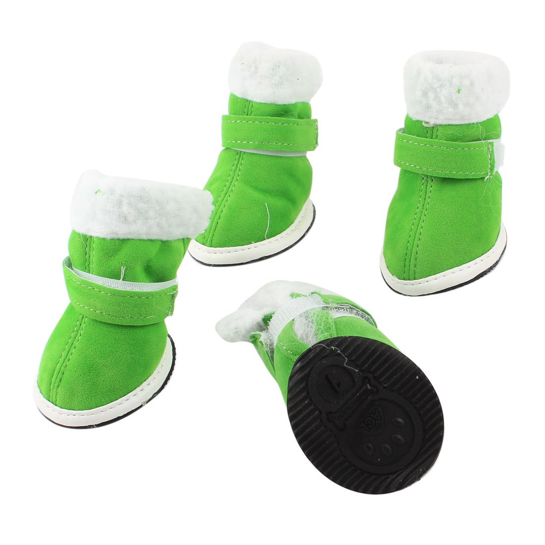 White Brim Green Hook Loop Fastener Pet Dog Shoes Boot XXS
