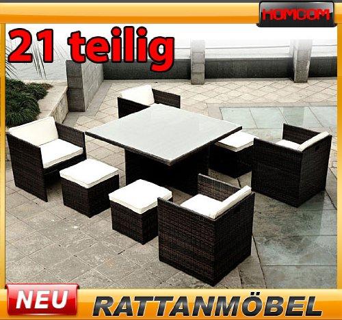 Poly Rattan Gartenmöbel Garnitur 21 tlg Gartenset Polyrattanmöbel