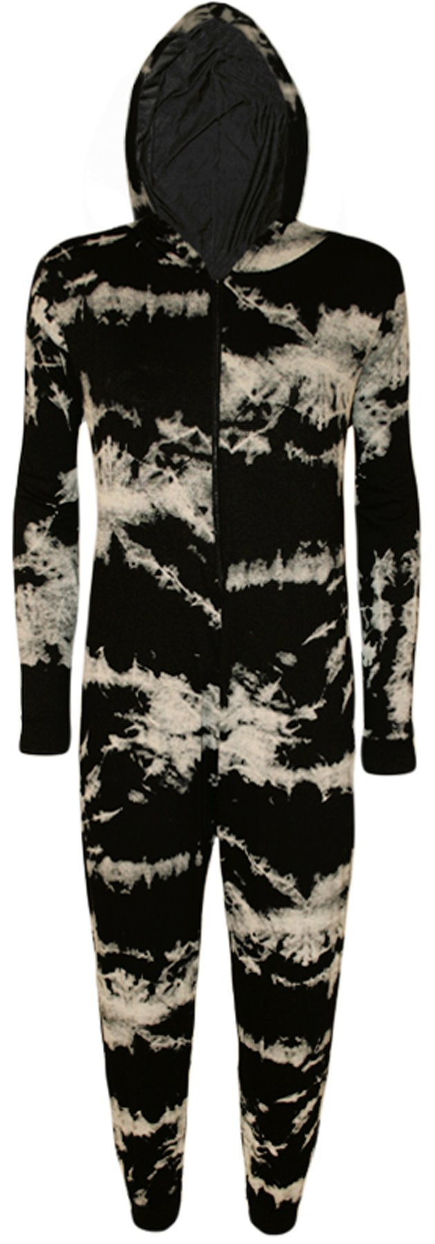 Women's Tie Dye Print Onesie LAdies Playsuit Long Hooded Jumpsuit
