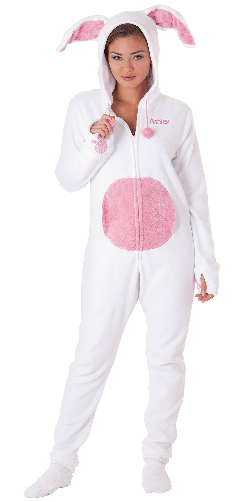 Bunny Hoodie Footie Halloween Costume for Adult Women - Fleece