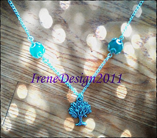 Silver Necklace with Green Aventurine & Tree of Life