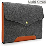 Lavievert Gray Felt Case Leather Bottom Bag Magnetic Button Sleeve for Apple 13