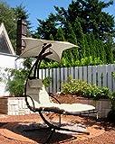 LECO 36000103 Schwingliege Stahlrohr, inklusiv Sonnenschirm und Polsterauflage, Farbe natur